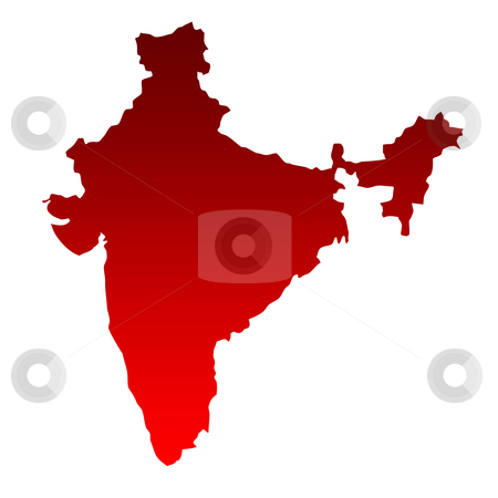 India map stock photo, Map of India in gradient red isolated on white background. by Martin Crowdy