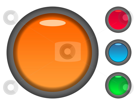 Blank colorful button icons stock photo, Set of blank colorful circular button icons, isolated on white background. by Martin Crowdy