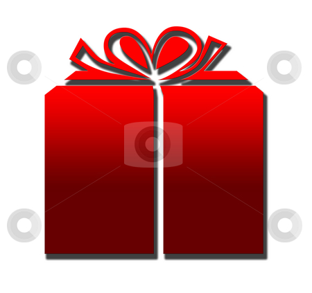 Wrapped present stock photo, Wrapped Christmas or birthday present, isolated on white background. by Martin Crowdy