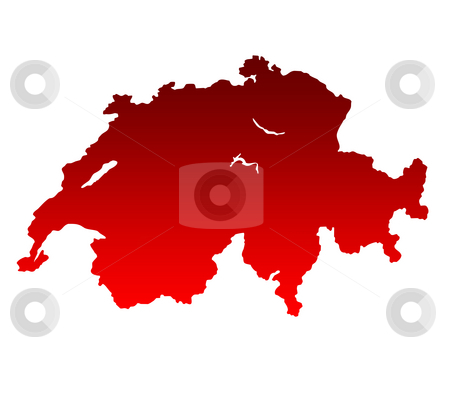 Switzerland Map stock photo, Map of Switzerland in gradient red isolated on white background. by Martin Crowdy