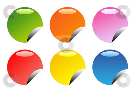 Glossy web buttons stock photo, Set of six glossy, circular web button icons, isolated on white background with copy space. by Martin Crowdy