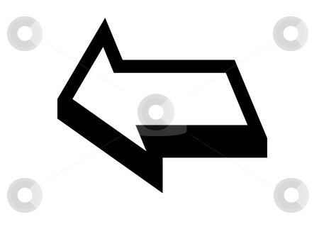 Directional arrow stock photo, Three dimensional directional arrow, isolated on white background. by Martin Crowdy