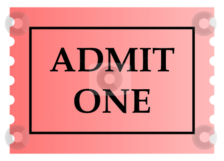 Admit one ticket stock photo, Admit one pink ticket template with copy space, isolated on white background. by Martin Crowdy