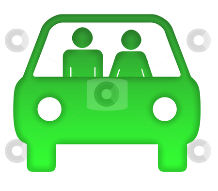 Couple in green eco car stock photo, Couple in green eco motor car silhouette, isolated on white background. by Martin Crowdy