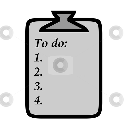 To do list on clipboard stock photo, To do list of clipboard with copy space, isolated on white background. by Martin Crowdy