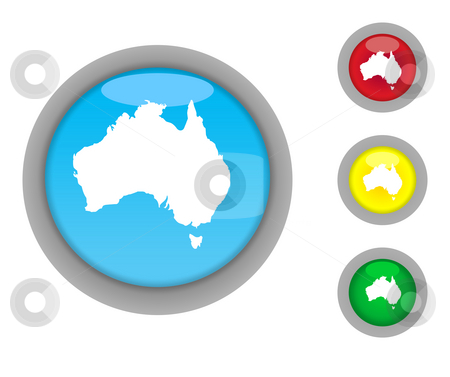 Australia button icons stock photo, Set of four colorful glossy Australian button icons with light effect isolated on white background. by Martin Crowdy