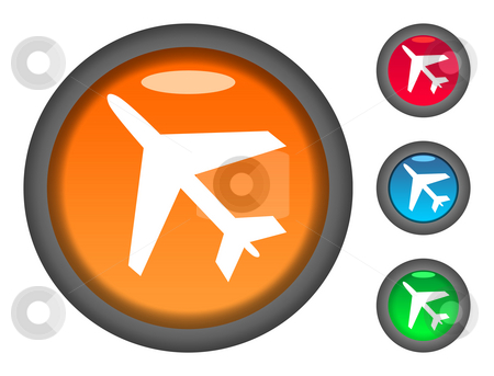 Aircraft button icons stock photo, Set of colorful circular aircraft button icons, isolated on white background. by Martin Crowdy