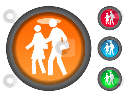 Walking to school button icons stock photo, Set of colorful circular walking to school button icons, isolated on white background. by Martin Crowdy