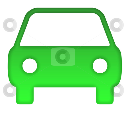 Green eco car stock photo, Green eco motor car silhouette, isolated on white background. by Martin Crowdy