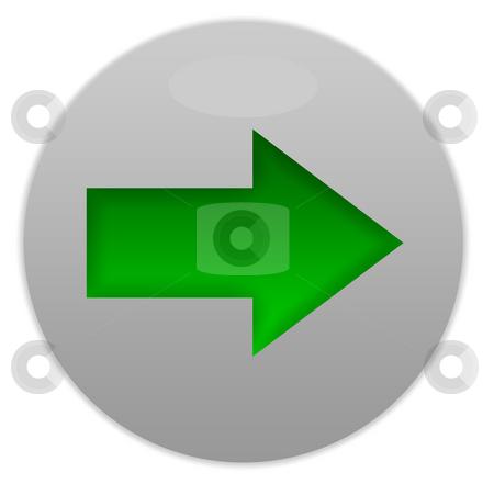 Green directional button stock photo, Green directional button isolated on white background. by Martin Crowdy