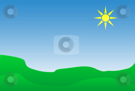Summer landscape stock photo, Background of summer landscape with shining sun and green fields. by Martin Crowdy