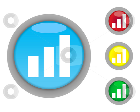 Business graph buttons stock photo, Set of increasing business graph buttons isolated on white background. by Martin Crowdy