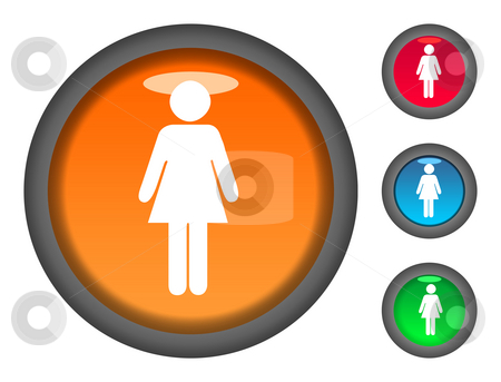 Female button icons stock photo, Set of female shaped colorful circular button icons, isolated on white background. by Martin Crowdy