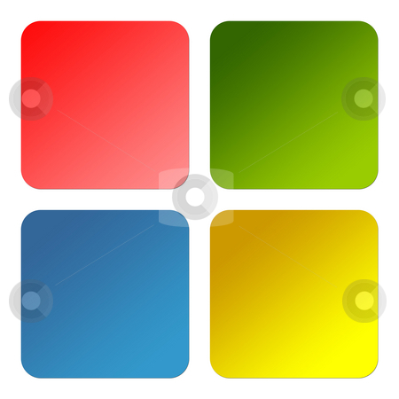 Glossy square buttons stock photo, Set of colorful glossy square buttons with copy space isolated on white background. by Martin Crowdy