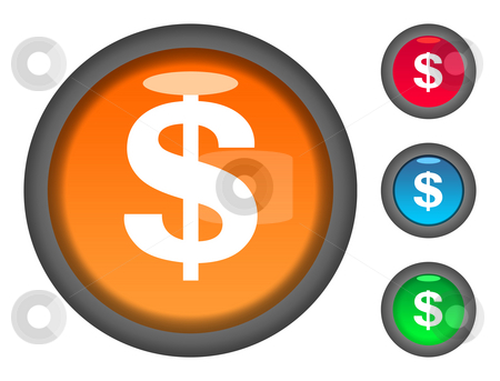 Dollar currency button icons stock photo, Set of colorful circular dollar currency button icons, isolated on white background. by Martin Crowdy