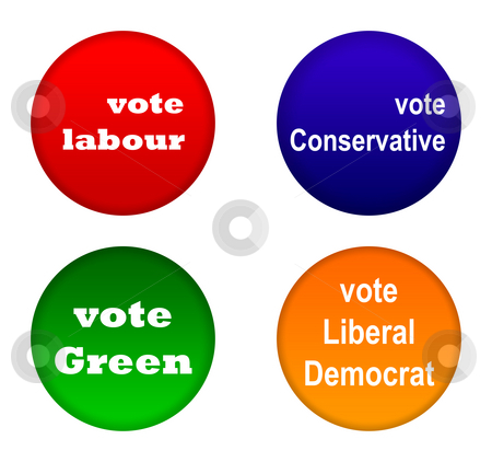 British party political badges stock photo, Set of British party political badges isolated on white background. by Martin Crowdy
