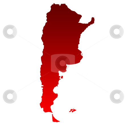 Argentina Map stock photo, Map of Argentina in gradient red isolated on white background. by Martin Crowdy