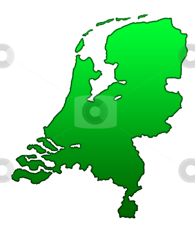 Map of Netherlands stock photo, Map of Netherlands isolated on white background. by Martin Crowdy