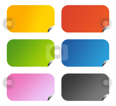 Glossy aqua buttons stock photo, Set of six glossy aqua buttons with copy space, isolated on white background. by Martin Crowdy
