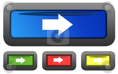 Glossy directional arrow buttons stock photo, Set of four rectangular shaped glossy directional arrow button icons isolated on white background. by Martin Crowdy