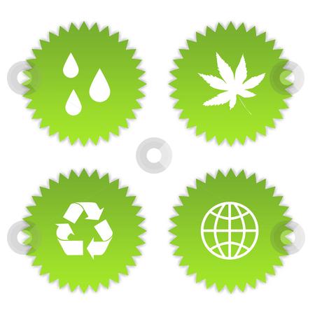 Green eco symbols stock photo, Set of four green eco symbols, isolated on white background. by Martin Crowdy