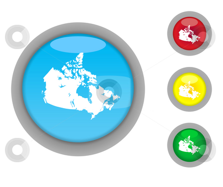 Canada map button icons stock photo, Set of four colorful glossy Canadian map button icons with light effect isolated on white background. by Martin Crowdy