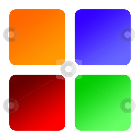 Four blank labels stock photo, Four blank square labels with rounded corners, isolated on white background. by Martin Crowdy
