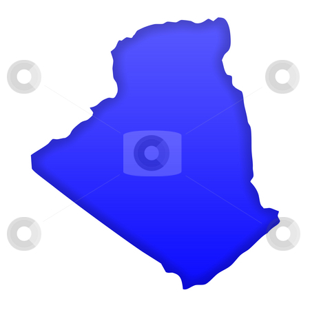 Algeria map stock photo, Algeria map in blue isolated on white background with clipping path and copy space. by Martin Crowdy