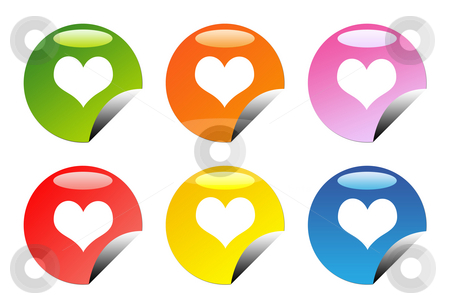 Glossy love heart buttons stock photo, Set of six glossy love heart web button icons, isolated on white background. by Martin Crowdy