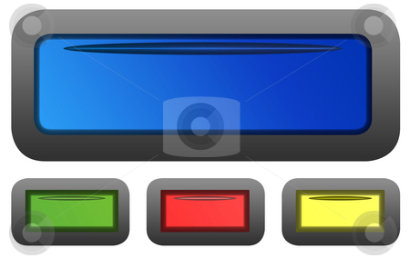 Glossy buttons stock photo, Set of four rectangular shaped glossy button icons isolated on white background. by Martin Crowdy