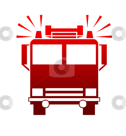 Fire engine or truck stock photo, Silhouette of fire engine or truck with blaring sirens, isolated on white background. by Martin Crowdy