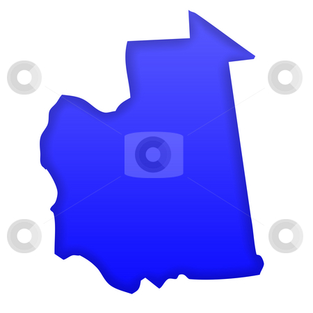 Mauritania Map stock photo, Mauritania map in blue isolated on white background with clipping path and copy space. by Martin Crowdy