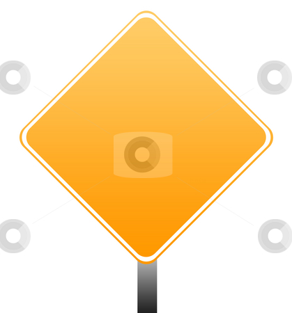 Blank orange sign stock photo, Blank orange road sign isolated on white background with copy space. by Martin Crowdy