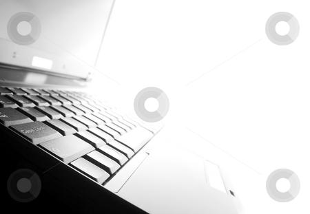 Laptop stock photo, Highkey image of a black laptop by P?