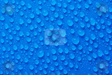 Droplets stock photo, Many water drops on blue surface by P?