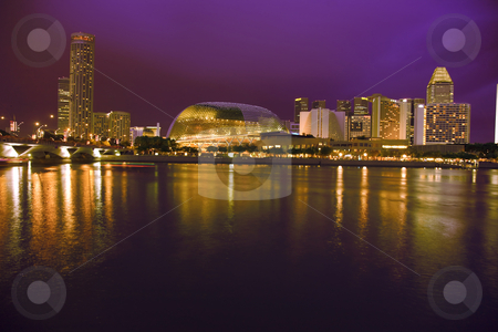 Singapore Skyline stock photo, A beautiful night shot of the Singapore Skyline. by Alan Poulson