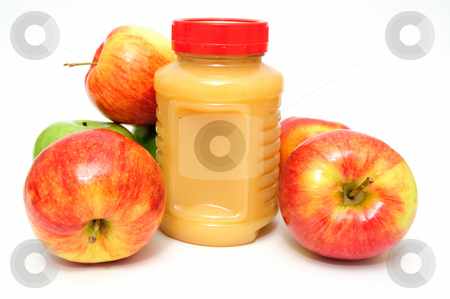 Applesauce stock photo, Fresh Apples both green and red with a jar of store bought applesauce by Lynn Bendickson
