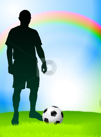 Print stock vector clipart, Soccer Player with Rainbow Background Original Vector Illustration by L Belomlinsky