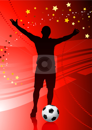Soccer/Football Player on Red Background stock vector clipart, Soccer/Football Player on Red Background Original Vector Illustration by L Belomlinsky