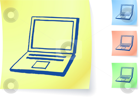 Hand-drawn laptop computer on sticky note stock vector clipart, Hand-drawn laptop computer on sticky note original vector illustration Post it note sketches  Three color version included by L Belomlinsky