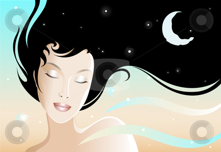 Night Girl stock vector clipart, Illustration of a young and beautiful woman. by Neda Sadreddin