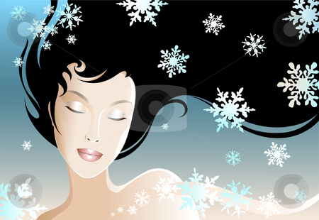 Winter Girl stock vector clipart, Illustration of a young and beautiful woman. by Neda Sadreddin