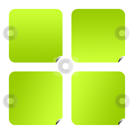 Green eco buttons stock photo, Set of four green eco button isolated on white background with copy space. by Martin Crowdy
