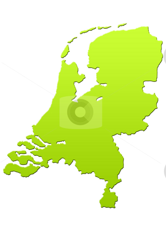 Netherlands map stock photo, Netherlands map in green, isolated on white background. by Martin Crowdy