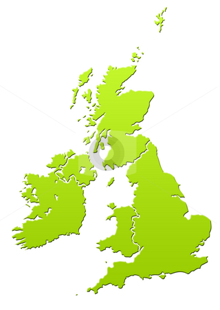 United Kingdom map stock photo, United Kingdom and Ireland map in green, isolated on white background. by Martin Crowdy