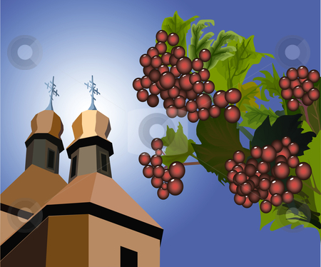 Guelder-rose against church stock vector clipart, Red berries of a guelder-rose in green leaves against wooden orthodox church by Yuriy Mayboroda