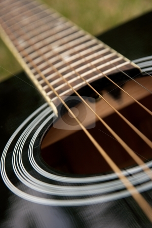 Guitar stock photo, Black acoustic guitar, (shallow dof) by P?