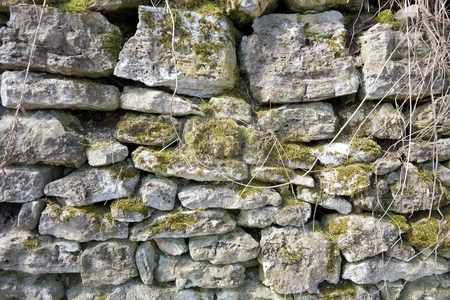 Wall stock photo, Old stone wall of a medieval building by P?