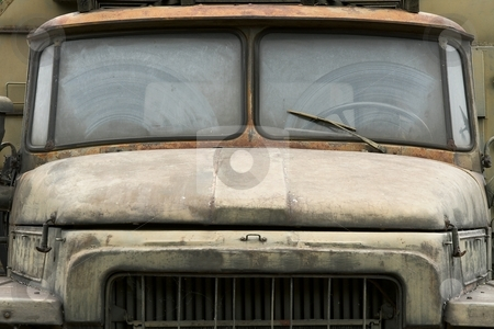 Truck stock photo, Detail of an old, dirty military truck by P?