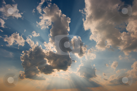 Sky stock photo, Cloudy sky with rays of light from the sun by P?